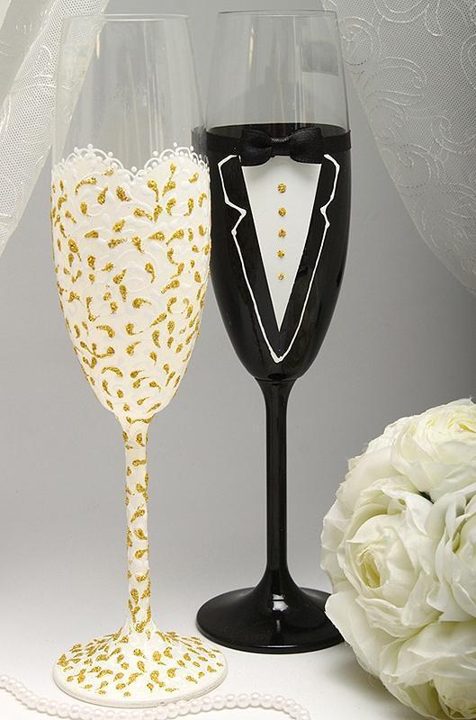 Свадебные бокалы Жених и Невеста ( золото/ серебро)