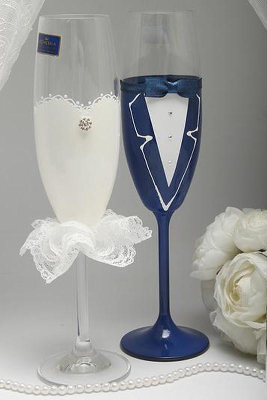 Свадебные бокалы Жених и Невеста синие