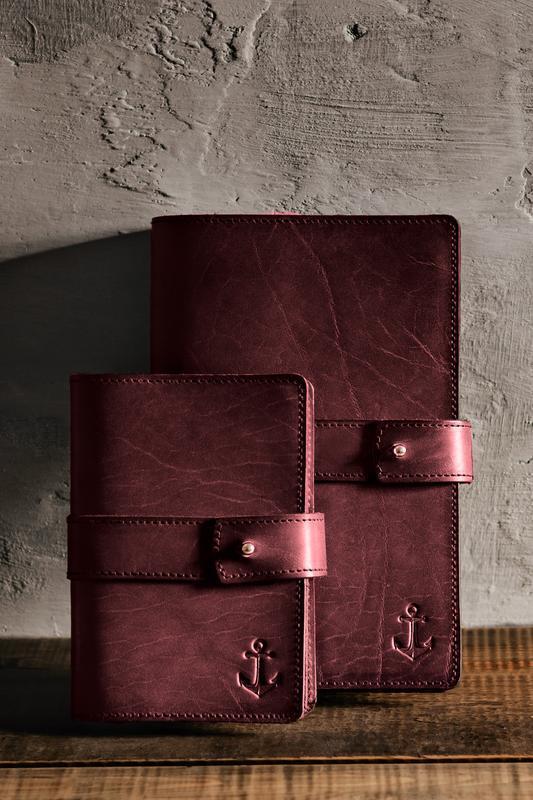 Кожаный блокнот софт-бук, Марсала. Блокнот с кожаной обложкой. Деловой блокнот, ежедневник