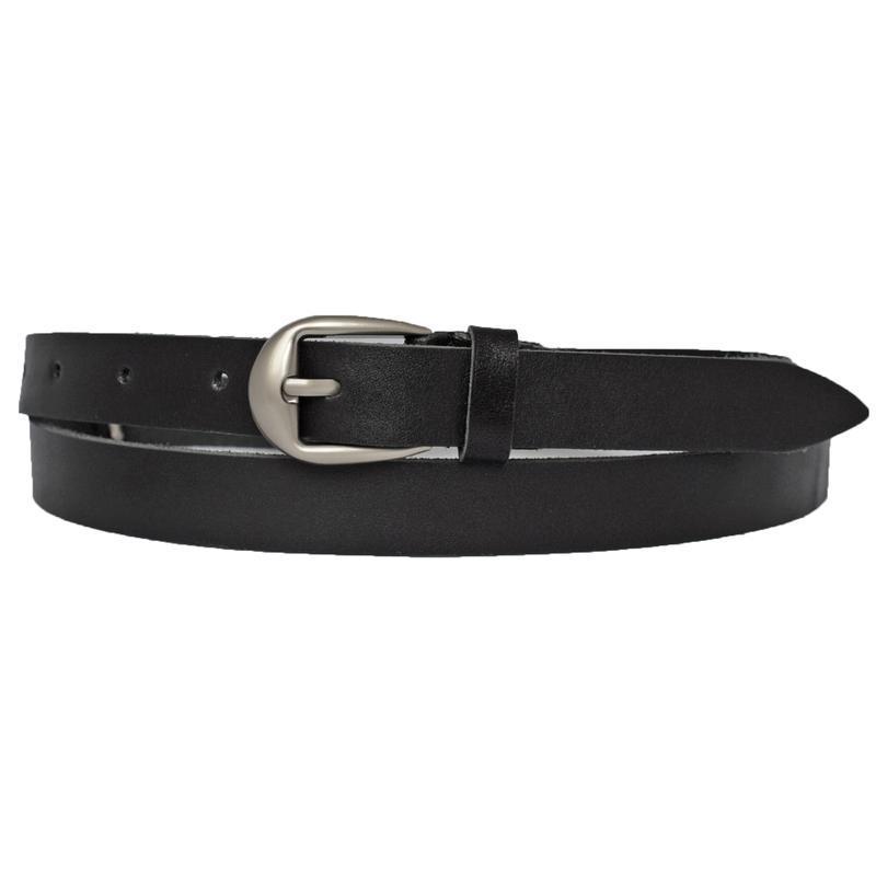 Женский кожаный тонкий ремень черный Premium20b3