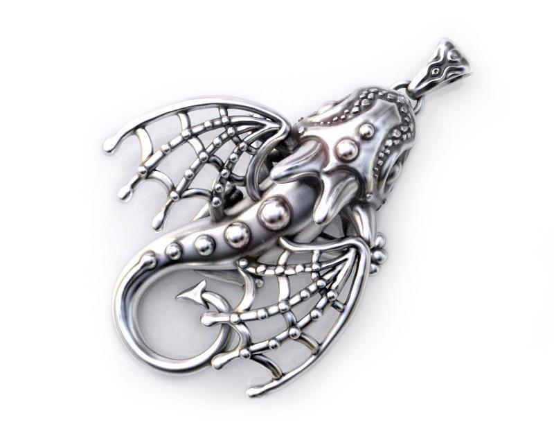 Дракон, кулон из серебра 925 пробы