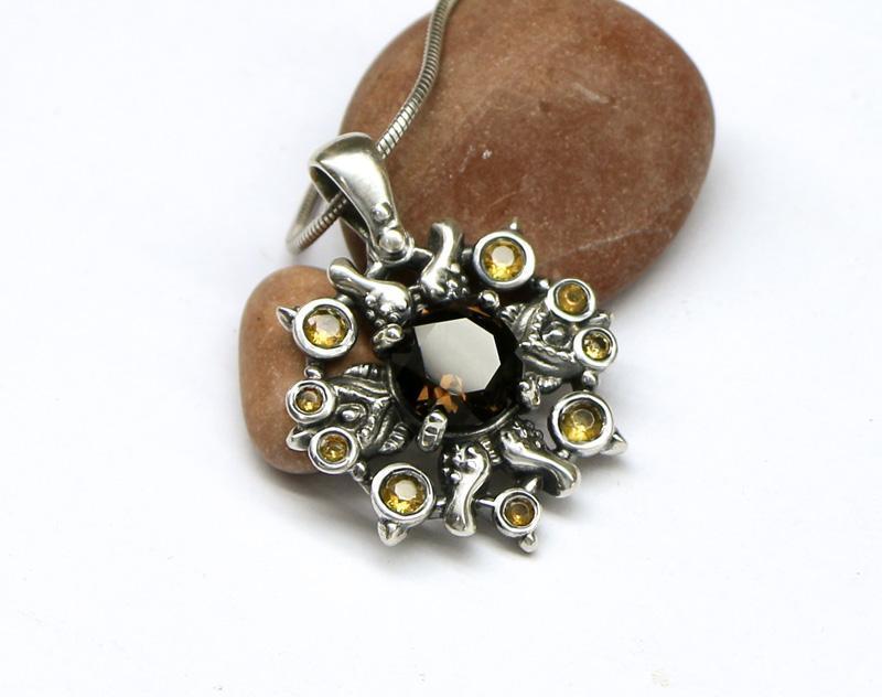 Кулон Талисман из серебра 925 пробы с натуральными камнями