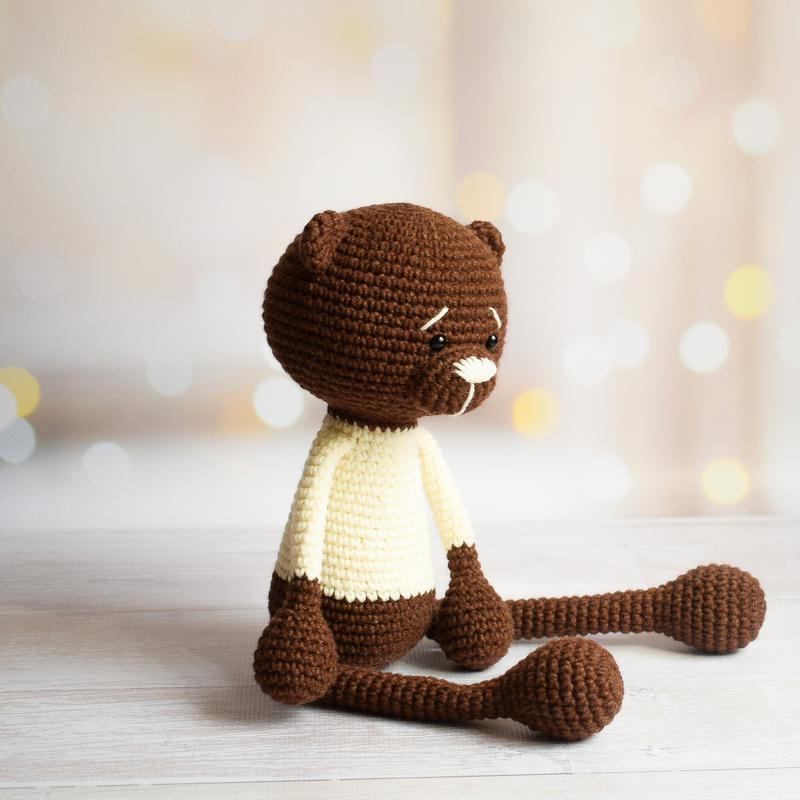Мишка-первая игрушка малыша. Вязаный мишка. Эко-игрушка. Подарок новорожденному.