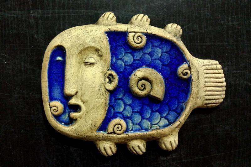 """Керамическое панно для стен """"Рыба стекло"""""""