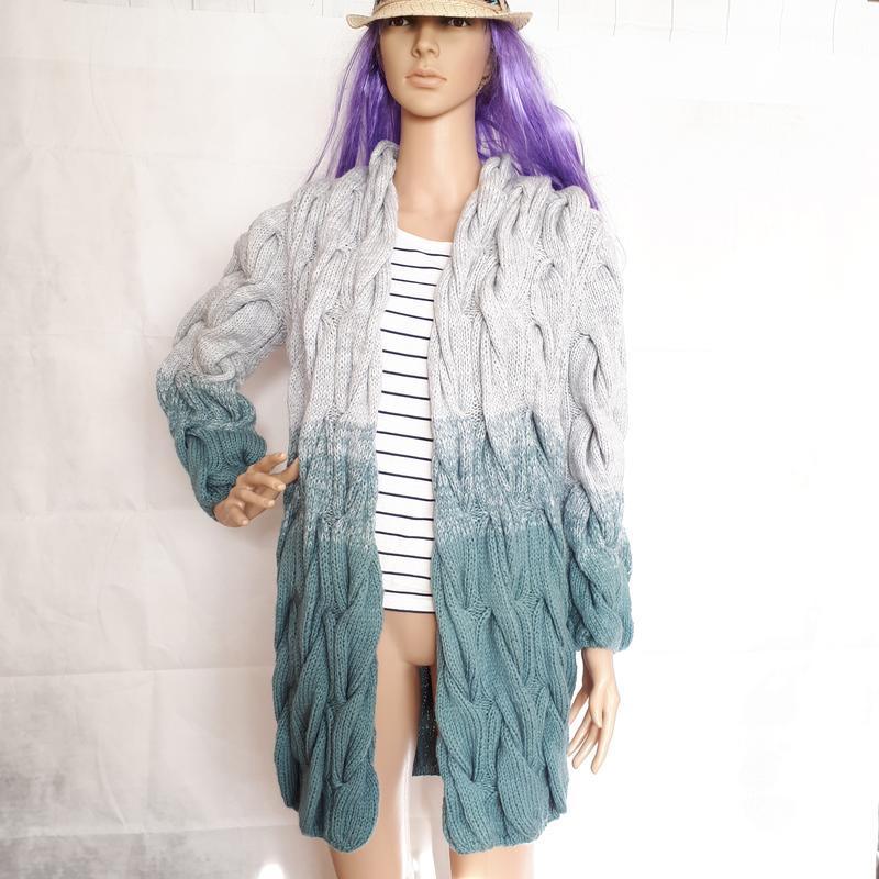 Акция! Кардиган с косами Пальто вязаное лало шарпей градиент