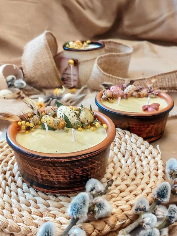 """Пасхальная свеча в пиале """"Happy Easter"""" с декором и ароматом в ассортименте!"""