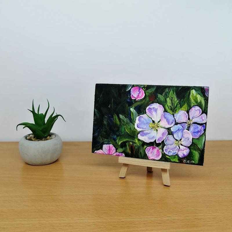 Картина миниатюра цветы яблони, Цветки яблони картина маслом, Картина с цветком