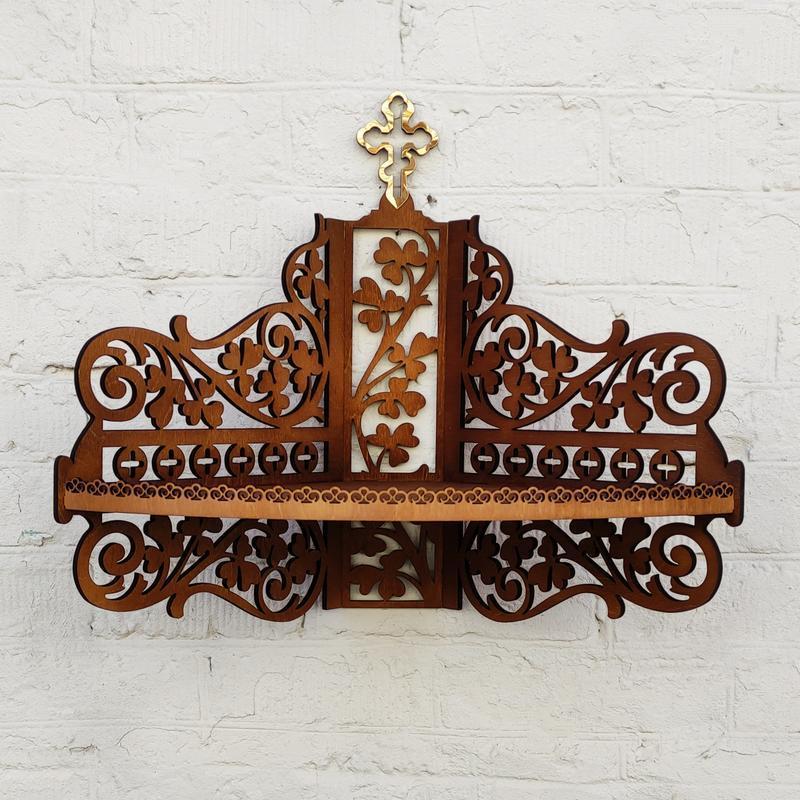 Деревянная угловая полка, иконостас, полка для икон в цвете каштан