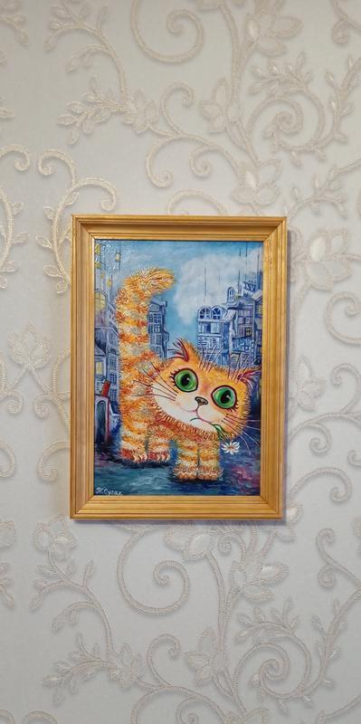 """Картина маслом """" Котик в городе"""""""
