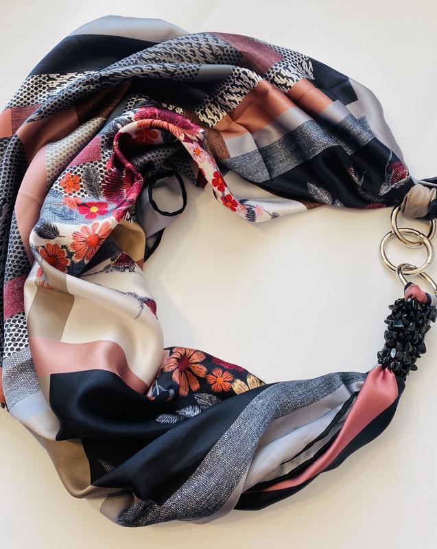 """""""Мистический блюз"""" атласный платок, шарф, шарф-колье, шарф-чокер, шейный платок, подарок женщине"""