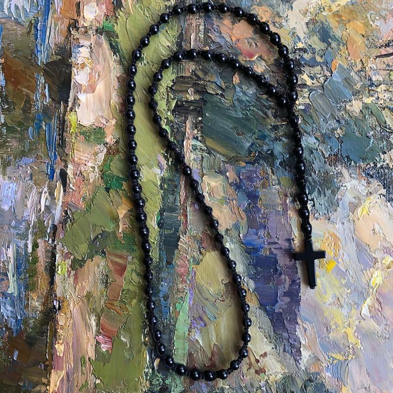 Мужские бусы из Агата с крестиком