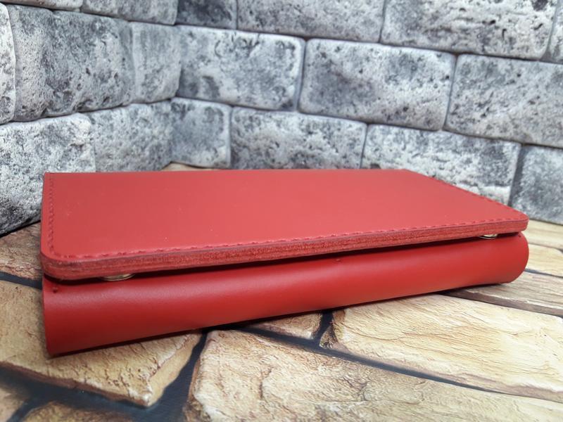 Красный кошелек из натуральной кожи K41-red capri
