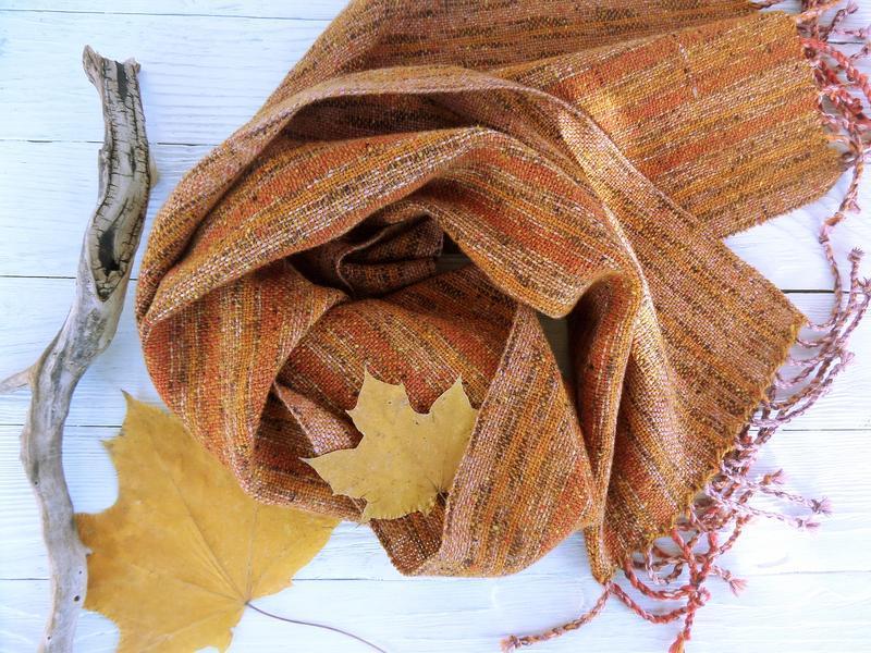 Тканый шарф Осенний твид/ручное ткачество