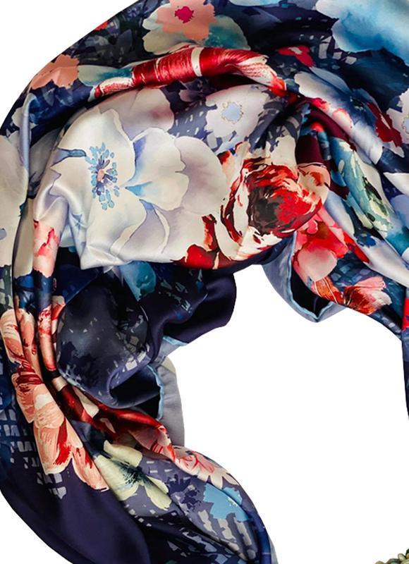 """Шелковый платок """"Королевский синий"""" от бренда my scarf, подарок женщине. Премиум коллекция!"""