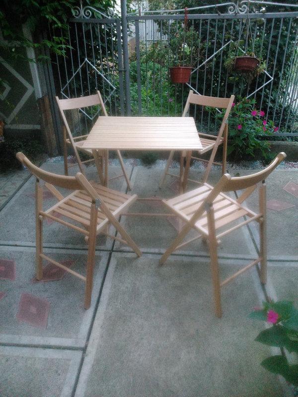 Деревянная складная мебель ( 4 стула + стол №2)