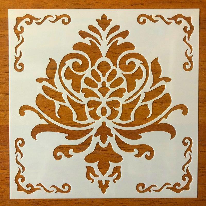 Трафарет многоразовый 313 штамп теснение на стены шаблон УЗОР цветок для альбомов для скрапбукинга 150*150 мм