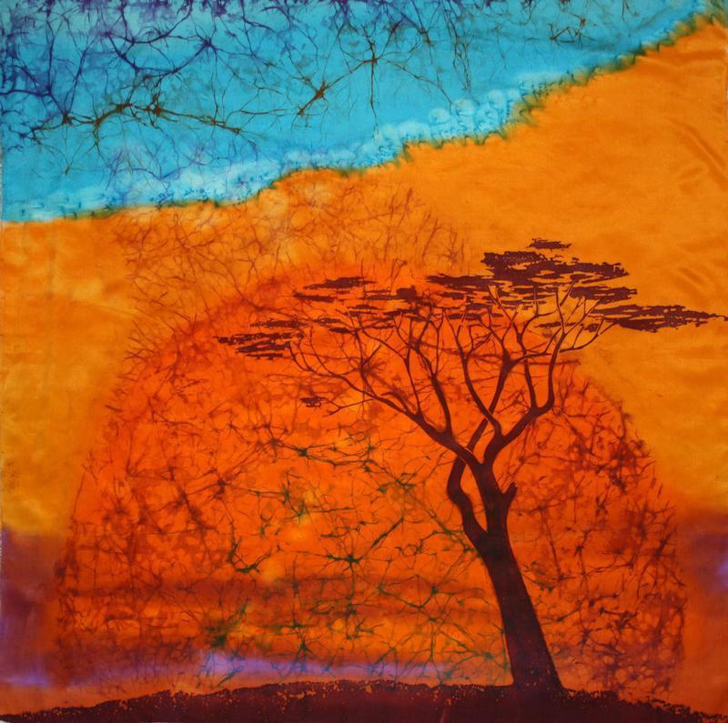 Оранжевый платок ручной росписи, шелковый  африканский платок, женский батик палантин