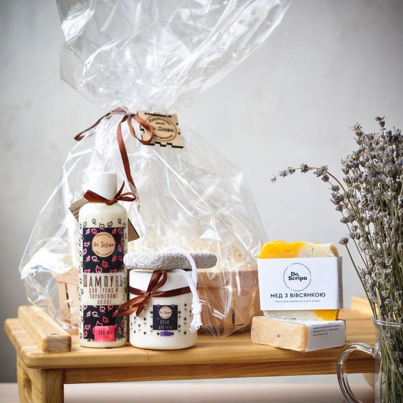 """Подарочный набор Шампунь Крем для тела Натуральное мыло""""Мед с овсянкой"""",""""Букет ромашек"""" Do scripa"""