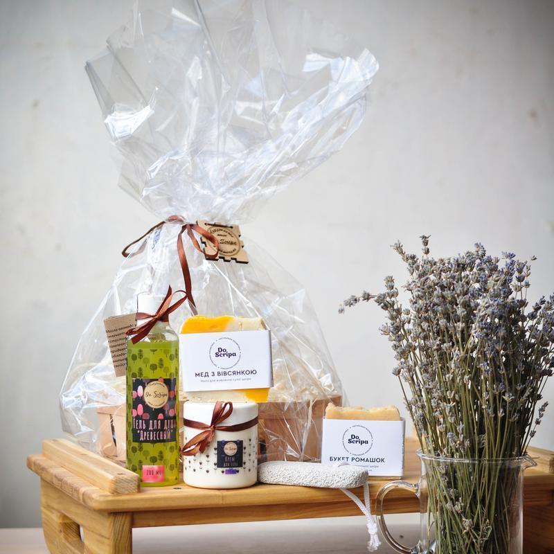 Подарочный набор Гель для душа Крем для тела Натуральное мыло Пемза Do scripa