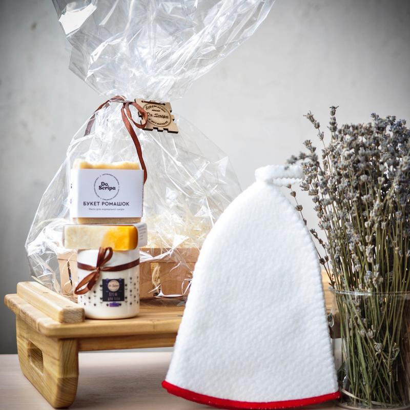 Подарочный набор Натуральное мыло Крем для тела Шапка для бани