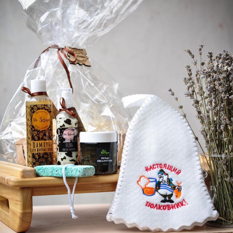 Подарочный набор для бани Шапка для сауны Бельди  Эвкалипт Пемза Do scripa