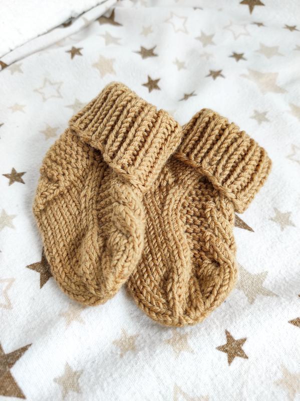 Пинетки носочки для новорожденных из мериносовой шерсти