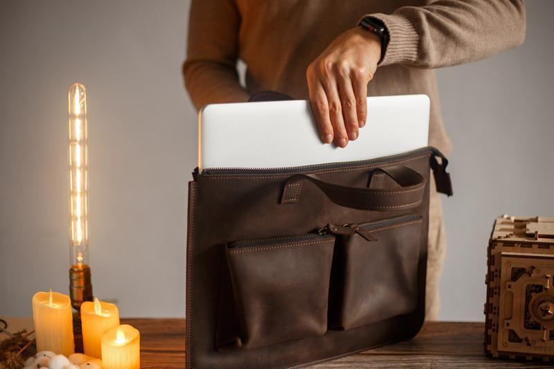 Кожаный чехол для ноутбука с карманами для зарядки MacBook Lenovo