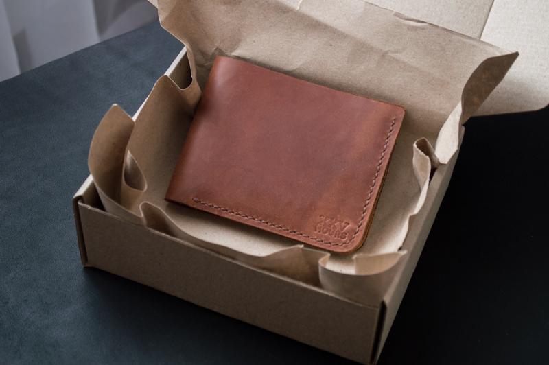 Кожаный кошелёк (Коньяк) Middler