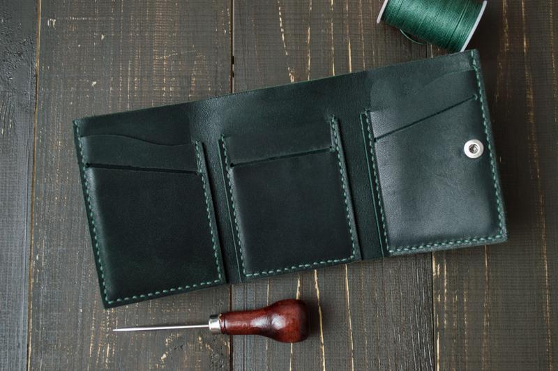 Кожаный кошелёк (Зеленый) Green Wallet