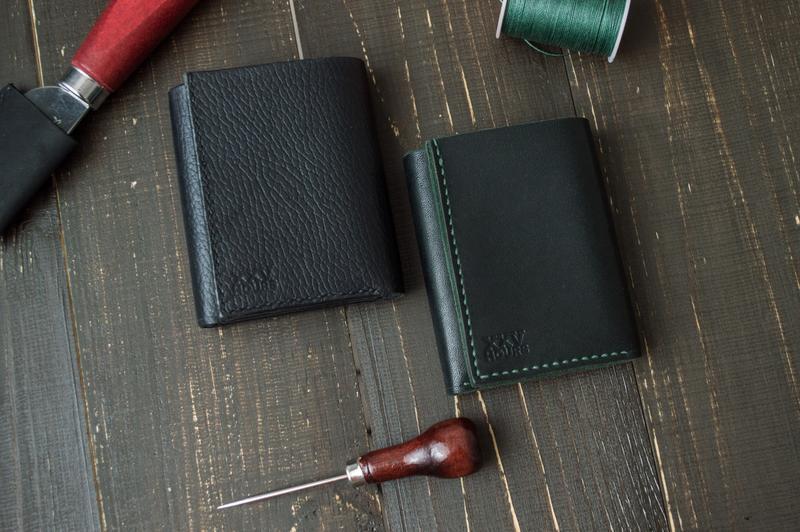 Кожаный кошелёк (Черный) Green Wallet
