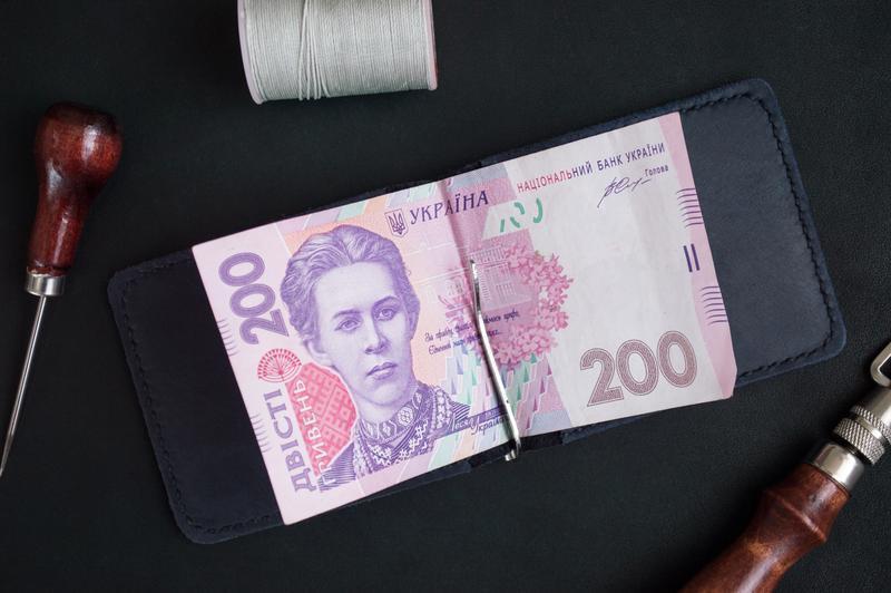 Зажим для денег из натуральной кожи (Синий)