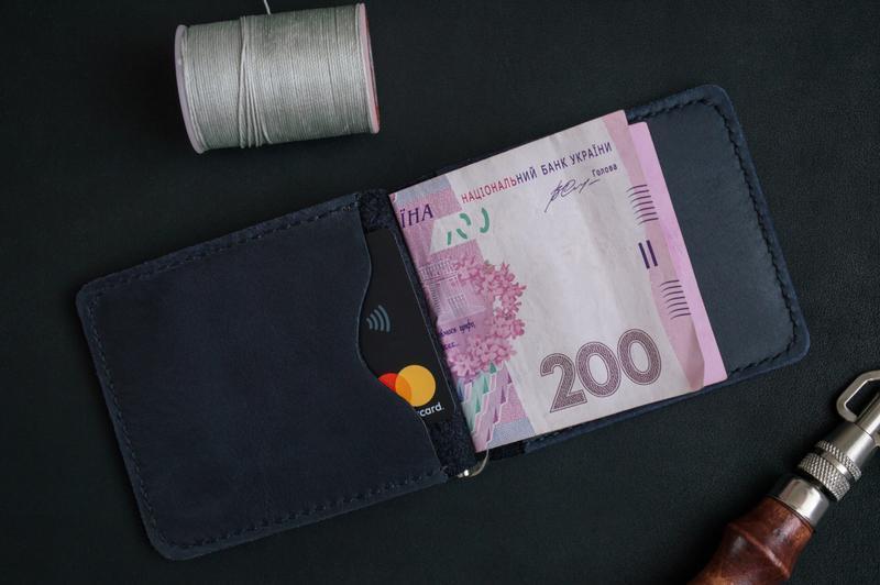 Затиск для грошей з натуральної шкіри (Синій)
