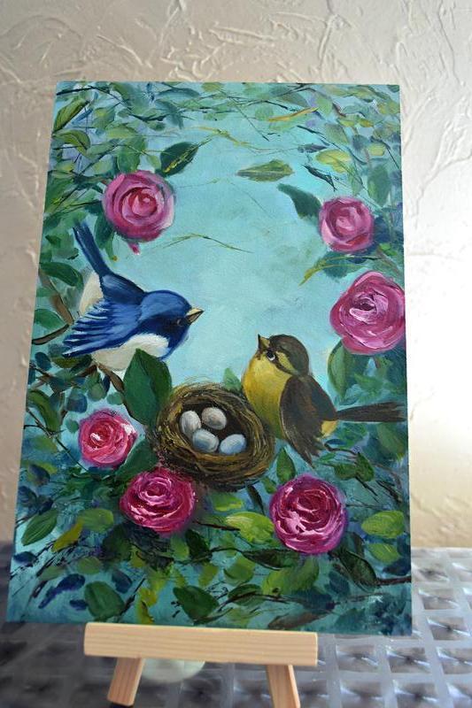 В зарослях роз, картина живопись,размер 20х30см