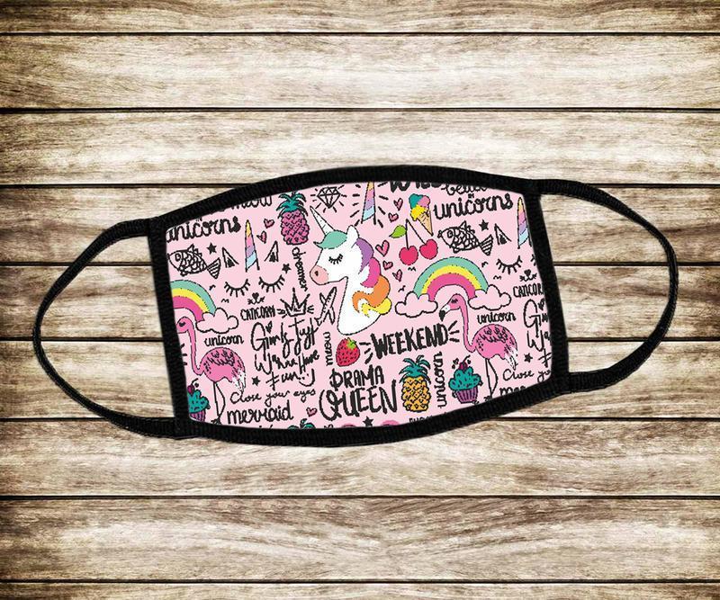 Детская многоразовая  маска розовый Единоріг