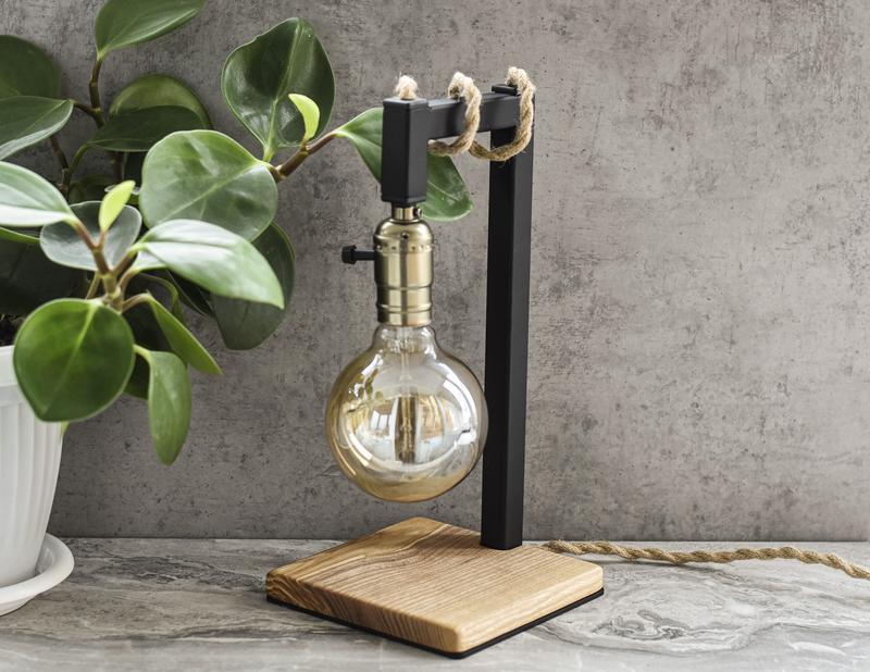 Настольная Лампа в Стиле Лофт Лампа из Металла и Дерева Лампа Эдисона Светильник