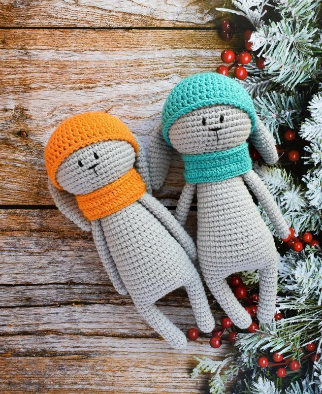 Вязаные милые зайчата. Мягкая игрушка для сна и игры. Подарок новорожденному. Эко-игрушка.