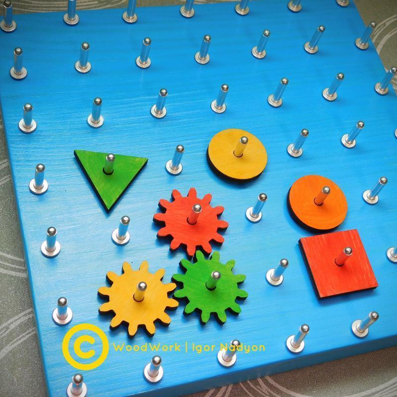Геоборд 9*9,  розвиваюча гра, математичний планшет