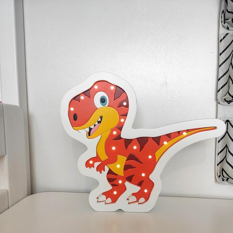 Ночник Динозавр Рекс от аккумулятора. Светильник в детскую ссветодиодный.