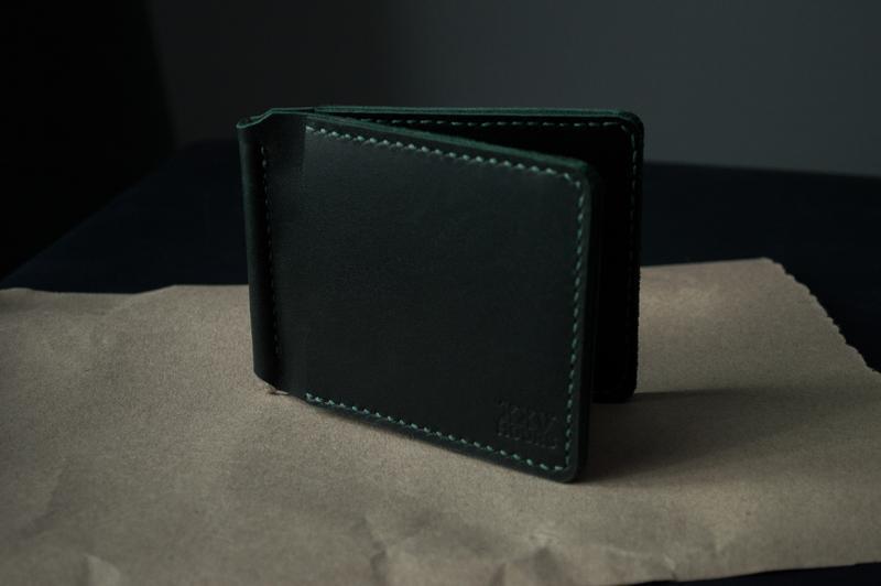Зажим для денег из натуральной кожи (Зеленый)