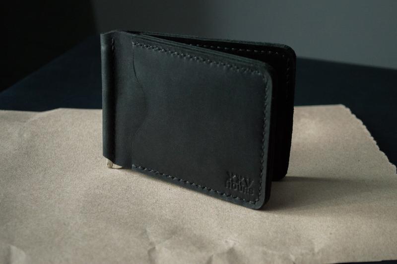 Зажим для денег из натуральной кожи (Черный)