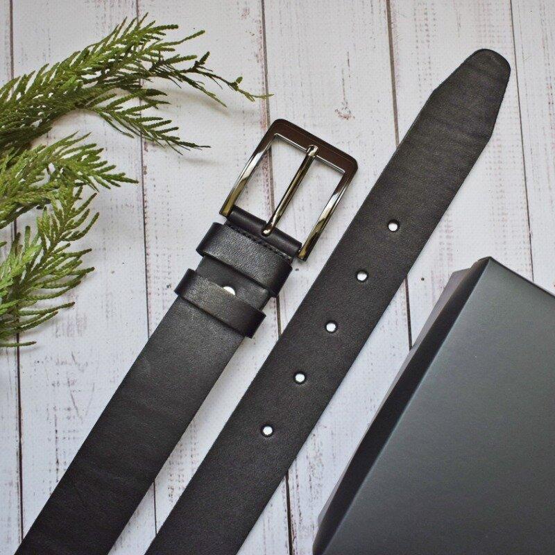 Ремень кожаный мужской черный для джинсов батальный большой размер grandboss