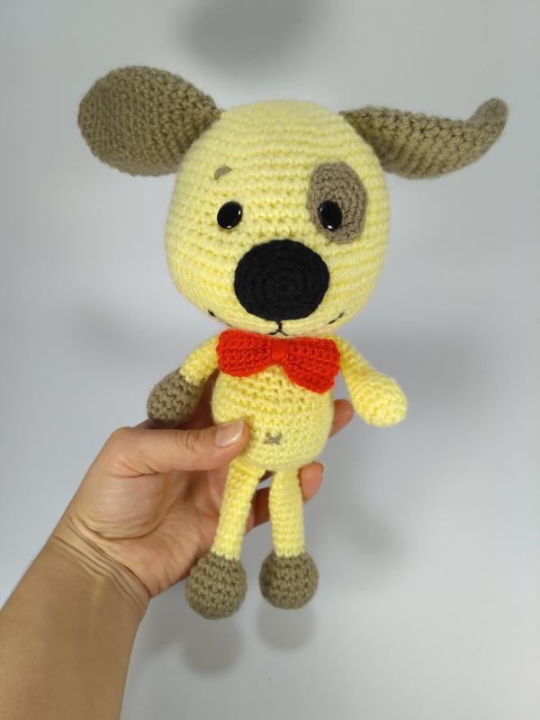жёлтый песик собака мягкая игрушка вязаная крючком подарок ручной