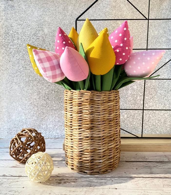 Букет текстильных тюльпанов, подарок на День матери, декор для дома