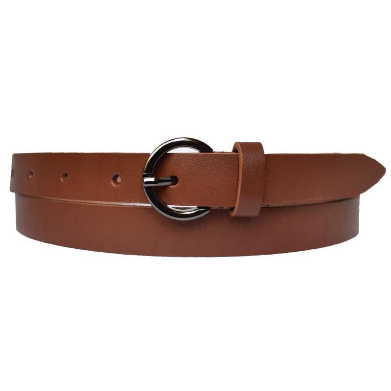 Ремень женский кожаный узкий коньячный коричневый anna20