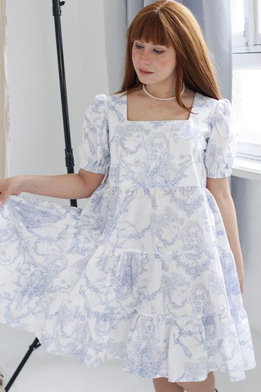 Оверсайз платье беби долл, Мини летнее платье, Платье туаль де жуи, Хлопковое ярусное платье