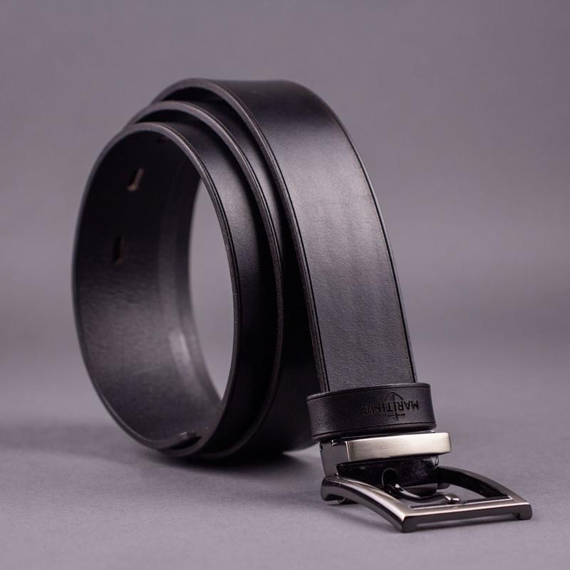 Кожаный мужской ремень Gentleman (Классический, брючный ремень, 35 мм) - Чёрный