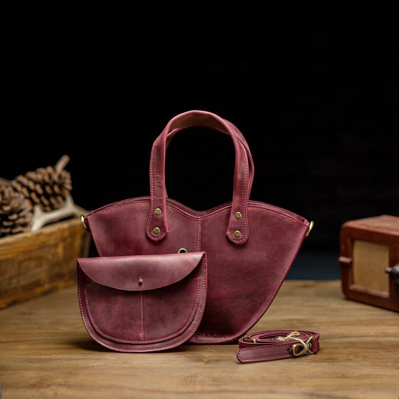 """Бордовая сумка из натуральной кожи с органайзером """"Love"""""""