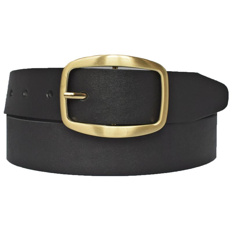 Кожаный женский ремень черный для джинсов megane