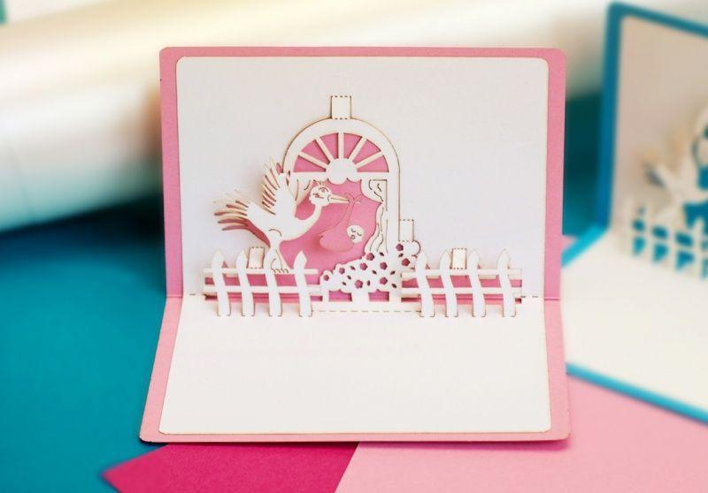 3d открытка рождение Girl