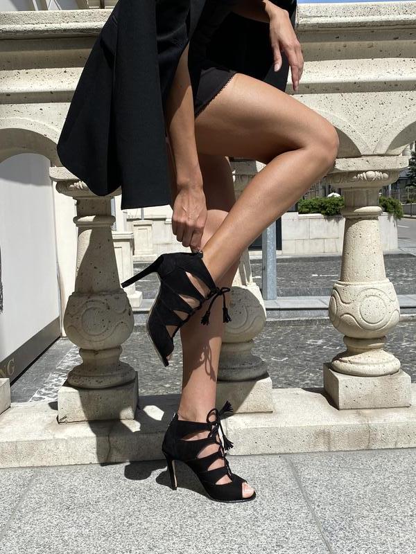 Велюровые босоножки на шпильке Shadow Black натуральная кожа